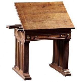Mesa de dibujo de roble de época de artesanía con pendiente ajustable 2