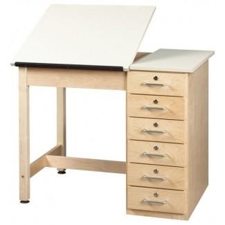 Mesa de dibujo con tablero dividido Shain con base de cajón escritorios contemporáneos