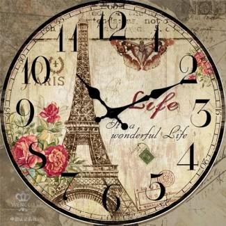 Reloj de pared de madera grande de 23 pulgadas Redondo Shabby Chic Decoración francesa Effel Tower