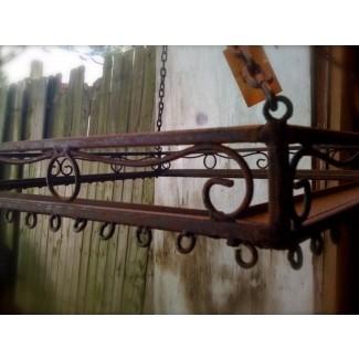 Estante para ollas colgante de hierro forjado 1