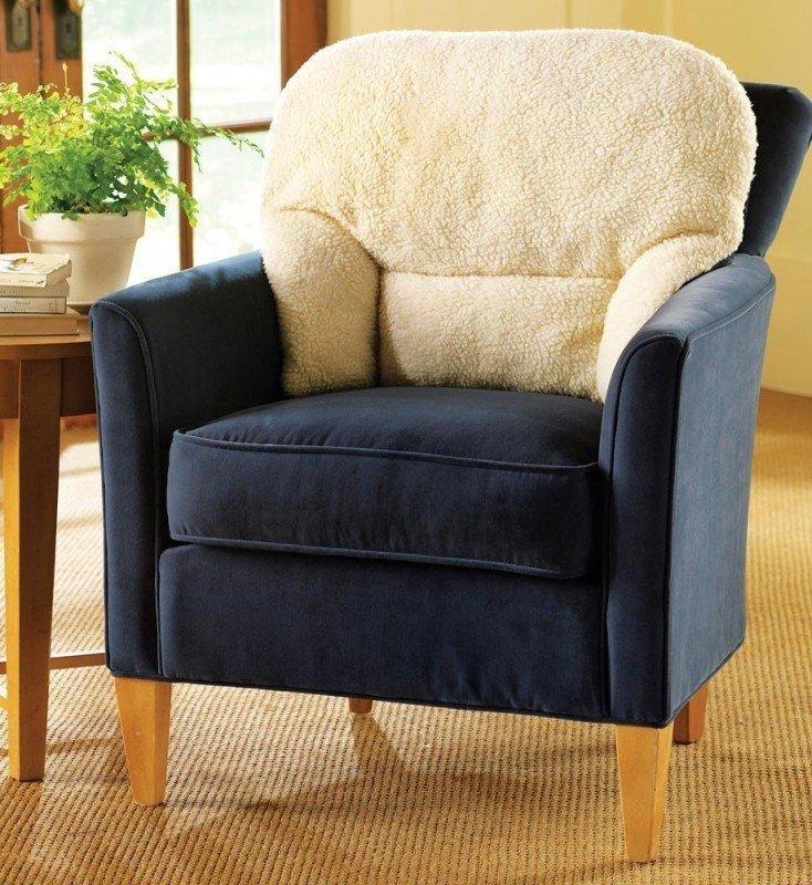 Respaldo de vellón cómodo apoyo lumbar cojín para sillón para ancianos