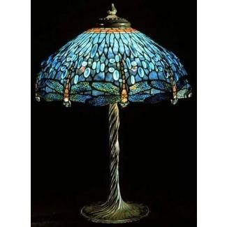 Lámpara de mesa de cristal de colores Dragonfly Tiffany 4