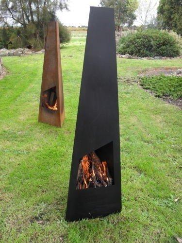 Chiminea chimenea de acero y metal para exterior con chimenea de leña