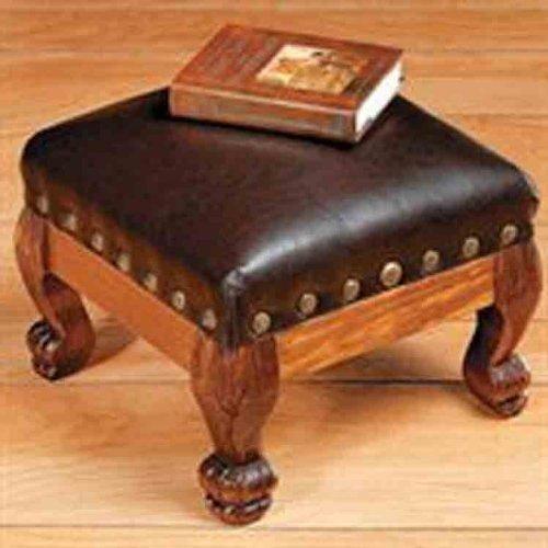 REPOSAPIÉS DE MADERA DE Imitación DE CUERO marrón reposapiés con decoración de calcetín