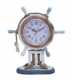 Reloj de madera con tema náutico